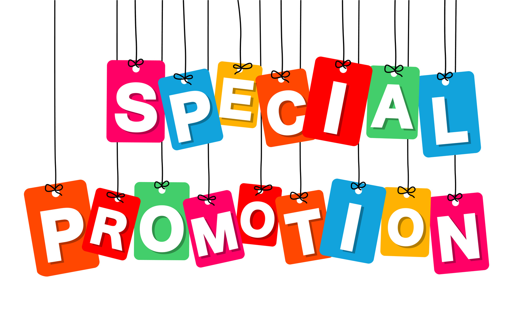 Vector colorful hanging cardboard. Tags - special promotion on white background